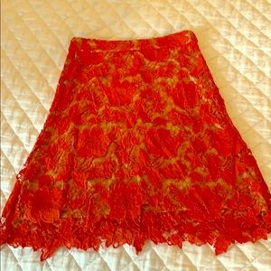 Lace fit and flare skirt